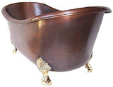 copper bathtub with bronze legs