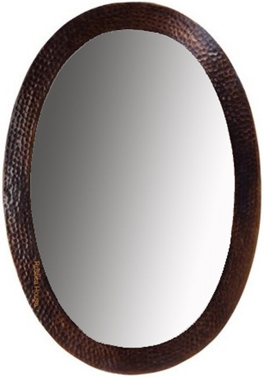 designer oval copper mirror