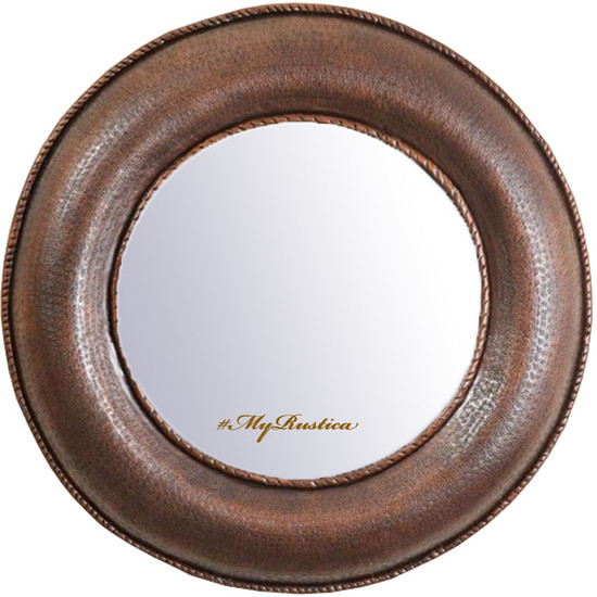hand crafted round copper mirror