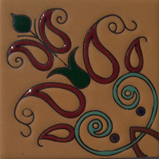 Old Europe Terracotta Lilies Relief Tile