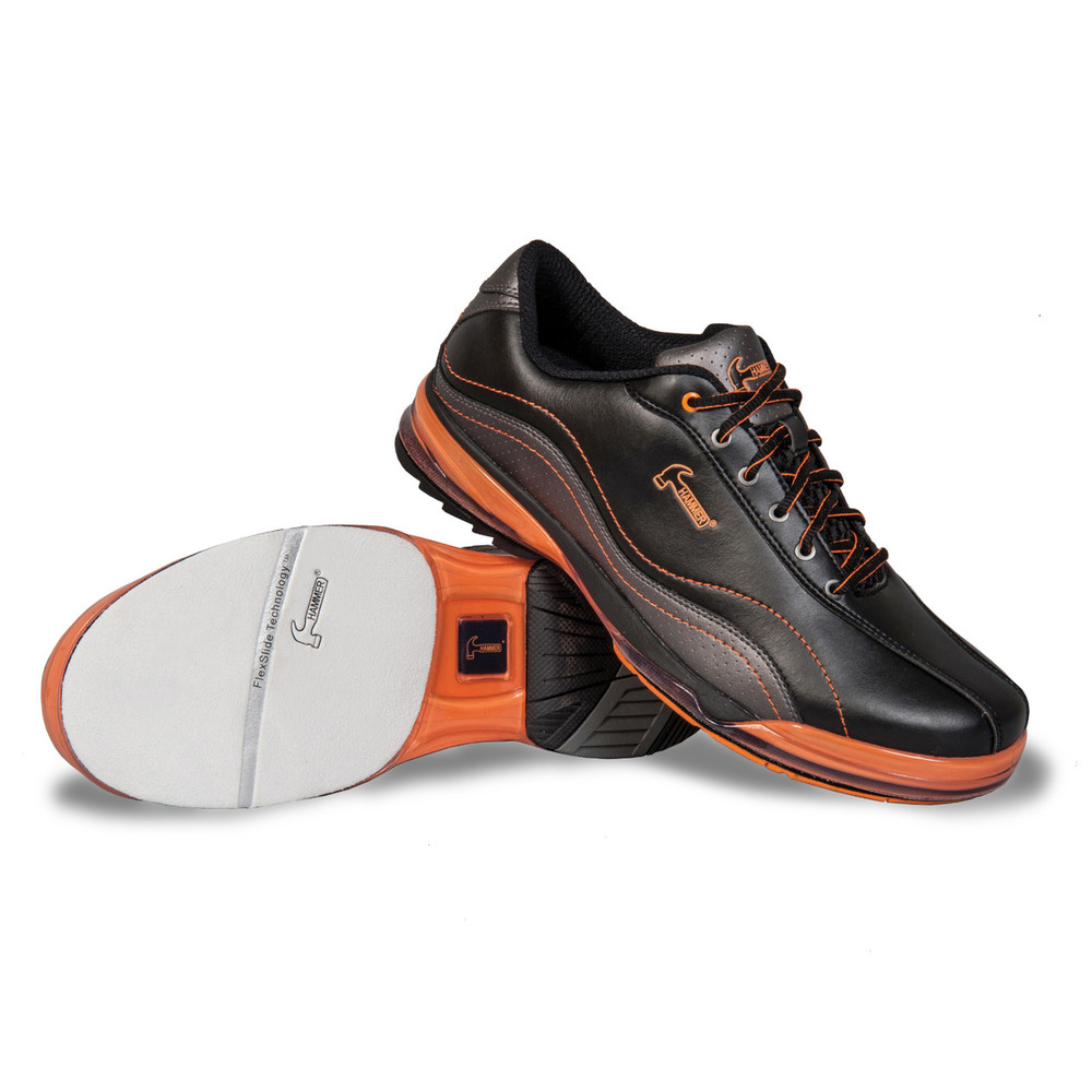 Hammer Force Mens Bowling Shoes Black Carbon Orange Right Hand Wide Width