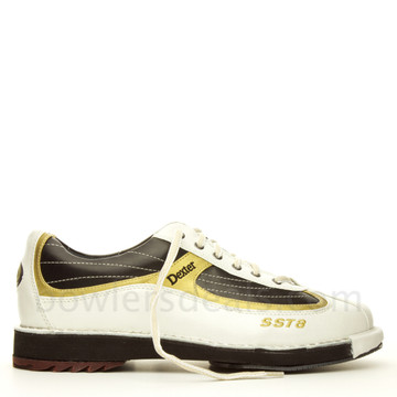 Dexter SST 8 Mens Bowling Shoes White/Black/Gold side view