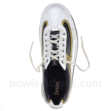 Dexter SST 8 Mens Bowling Shoes White/Black/Gold top view