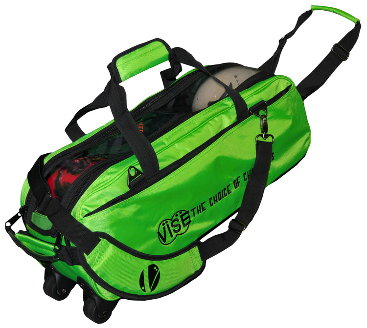 Vise 3 Ball Clear Top Roller Bowling Bag Green