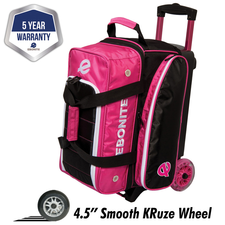 Ebonite Eclipse 2 Ball Double Roller Bowling Bag pink