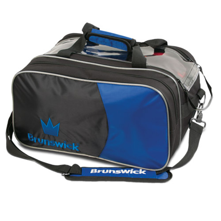 Brunswick Crown 2 Ball Double Tote Bowling Bag with Pouch Royal