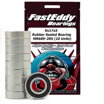 9x17x5 Rubber Sealed Bearing MR689-2RS (10 Units)