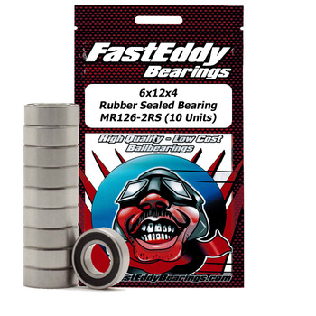 6x12x4 Rubber Sealed Bearing MR126-2RS (10 Units)