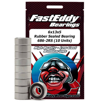 6x13x5 Rubber Sealed Bearing 686-2RS (10 Units)