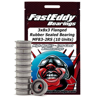 3x8x3 Flanged Rubber Sealed Bearing MF83-2RS (10 Units)