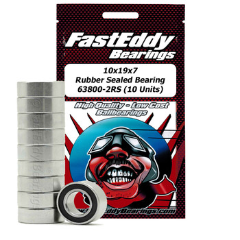 10x19x7 Rubber Sealed Bearing 63800-2RS (10 Units)