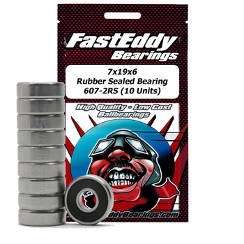 7x19x6 Rubber Sealed Bearing 607-2RS (10 Units)