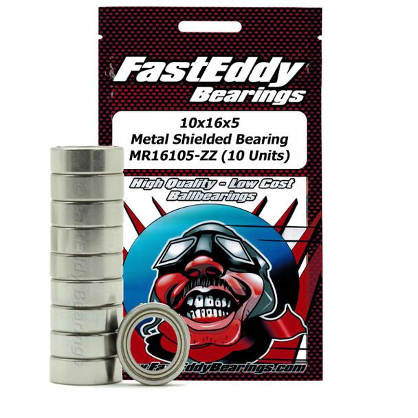 10x16x5 Metal Shielded Bearing MR16105-ZZ (10 Units)