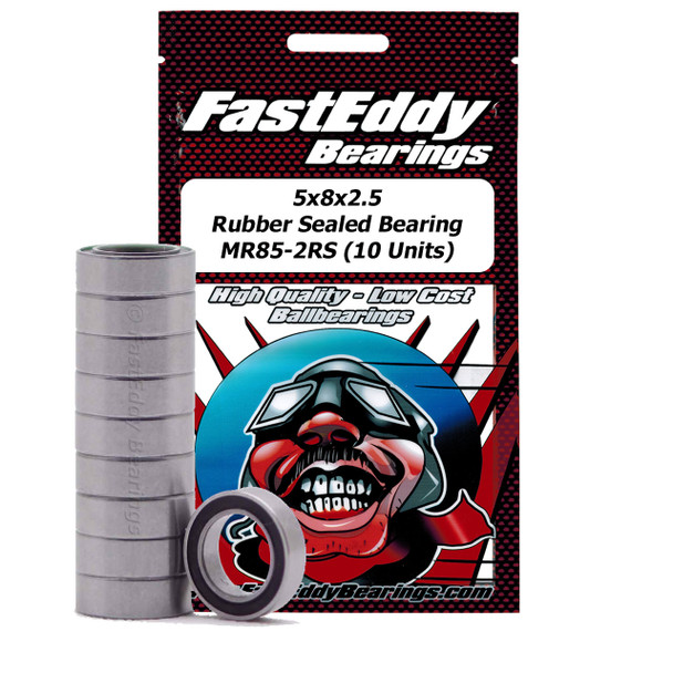 5x8x2.5 Rubber Sealed Bearing MR85-2RS (10 Units)