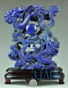 Natural Lapis Lazuli Gemstone Carving: Playing Dragons Statue / Sculpture