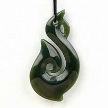 Maori jade fish hook pendant
