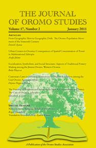 THE JOURNAL OF OROMO STUDIES, Volume 17, Number 2, 2011, Editor: Ezekiel Gebissa, Kettering University