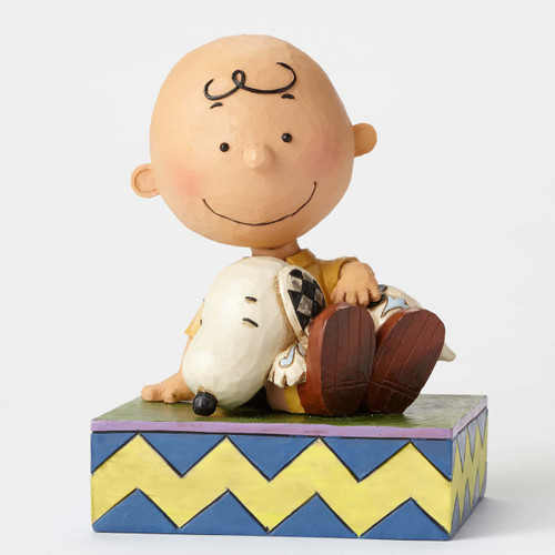Happiness is Snuggling, Charlie Brown holding Snoopy figure Peanuts by Jim Shore 4049397