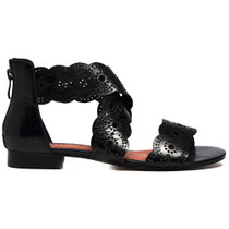 Pennery Flat Sandals in Black Leather