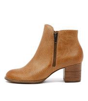 SERIL Ankle Boots in Tan Punched Leather