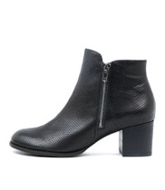 SERIL Ankle Boots in Black Punched Leather
