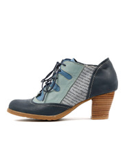DAPPLE Lace-up Booties in Navy/Multi Leather