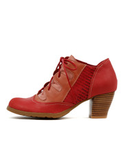 DAPPLE Lace-up Booties in Red/Multi Leather