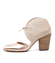 HELIA Heel Highs in Rose Gold/ Nude Leather