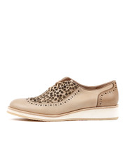 CARION Lace-up Flatforms in Nude/ Ocelot Leather