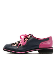 CYPRUS Lace-up Brogues in Navy/ Pink/ Ocelot Leather