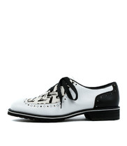 CYPRUS Lace-up Brogues in White/ Black/ Multi Leather