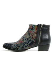 TWISTA Ankle Boots in Bright Navy Floral Leather
