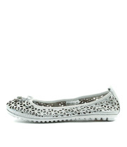 BACCARS Ballet Flats in White/Silver Leather