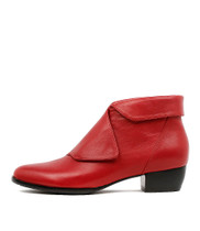 TASKER Ankle Boots in Red Leather