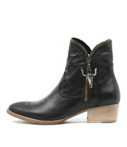 LEONI Ankle Boots in Black Leather