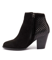 CAROL Ankle Boots in Black Nubuck/ Weave Leather