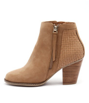 CAROL Ankle Boots in Tan Nubuck/Weave Leather