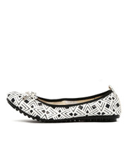 BALIN Ballet Flats in White/Black Aztec Leather