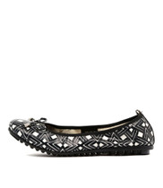BALIN Ballet Flats in Black/White Aztec Leather