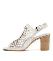 VIKKI Heeled Sandals in Silver Crackle Leather