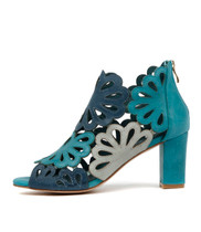 NICKY Heeled Bootie in Turquoise/ Multi Leather