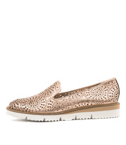 WICK Flatform Loafers in Rose Gold Punch Leather