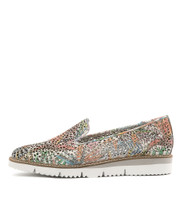 WICK Flatform Loafers in Pastel/ Multi Punch Leather