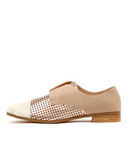 JACCA Brogues in White/Rose Gold/Multi Leather