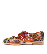 AMORE Flats in Orange Multi Leather