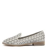 ARNOLD Loafers in White/ Pale Gold Punched Leather