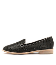 ARNOLD Loafers in Black/ Pewter Punched Leather
