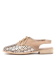ANABEL Lace-up Flats in Champagne/ Latte Leather
