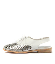 ANABEL Lace-up Flats in Silver/ White Leather