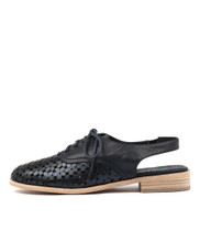 ANABEL Lace-up Flats in Navy/ Metallic Leather